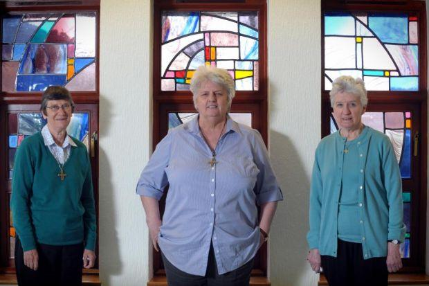 broken HABIT: L-R Sister Mary, Sister Mary and Sister Kate are optimistic about the future of their Notre Dame order  Photograph: Kirsty Anderson